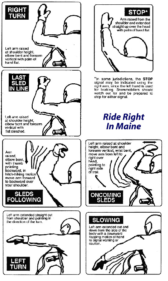 Standardized snowmobile hand signals